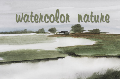 watercolor nature and landscape with river and house and trees