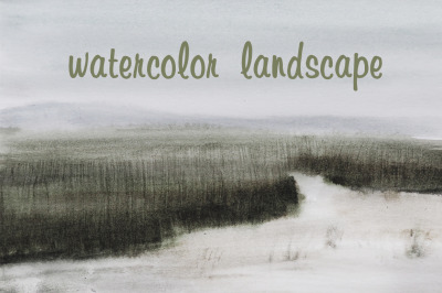 watercolor nature and landscape field, water, and hill