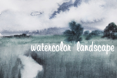 watercolor nature and landscape with tree and sky / storm