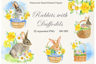 Watercolor easter rabbits and daffodils clipart set. Hand drawn PNG