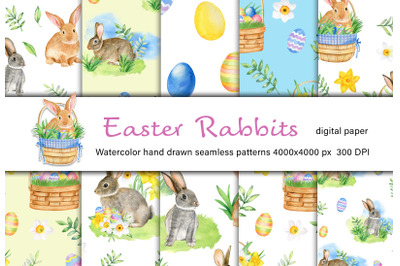 Watercolor Easter Rabbits seamless patterns set.