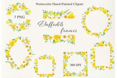 Watercolor daffodils frames, wreath clipart set. Hand painted PNG