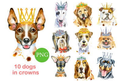 Watercolor dogs in crowns
