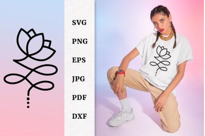 Lotus Flower Unalome Floral Silhouette SVG Files For Cricut