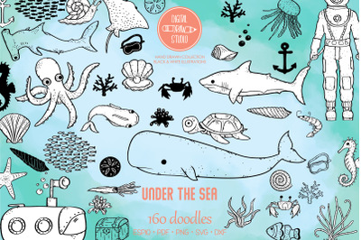 Under the Sea Doodles | Hand Drawn Fish, Ocean Life, Octopus, Shell
