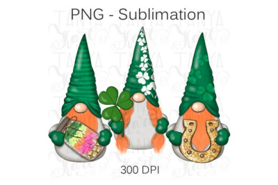 St.Patricks Png   Whimsical Design   Cute Gnomes