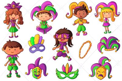 Mardi Gras Kids Clip Art