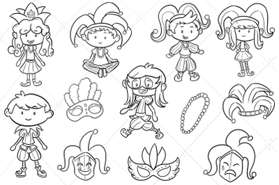 Mardi Gras Kids Digital Stamps