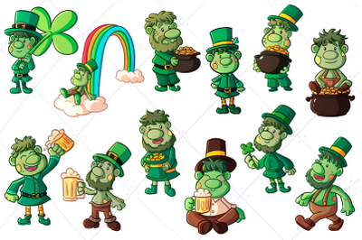 St Patrick's Day Trolls Clip Art