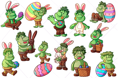 Funny Easter Trolls Clip Art