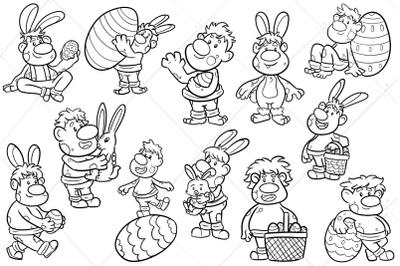Funny Easter Trolls Digital Stamps