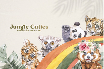 Jungle Cuties. Tropical Baby Animals Watercolor set