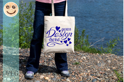 Woman with eco tote bag template