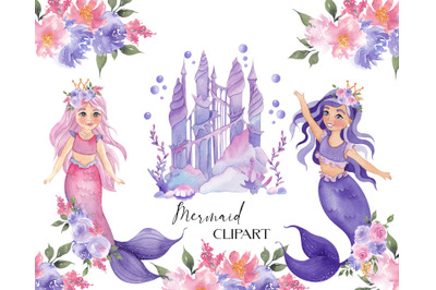 Mermaid Clipart. Watercolor Underwater collection
