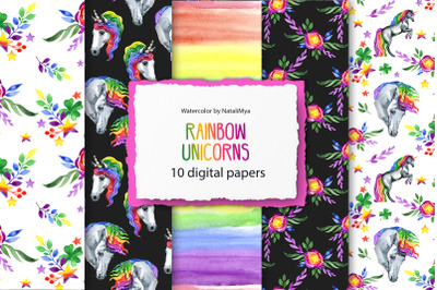Rainbow unicorns digital paper pack