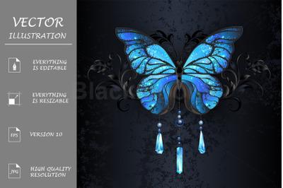 Blue Morpho Butterfly on Black Background
