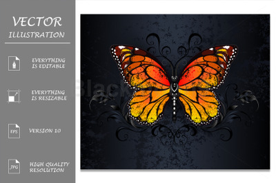 Monarch Butterfly on Gothic Background