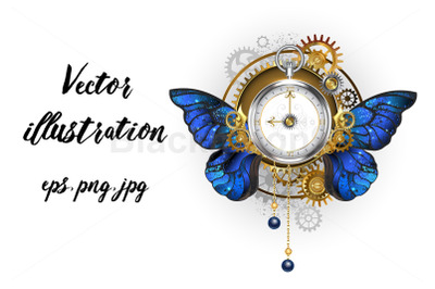Antique Clock with Morpho Butterfly Wings Steampunk