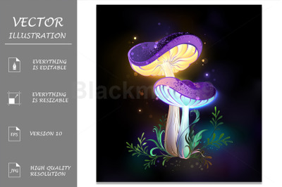 Two Glowing Mushrooms