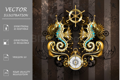Steampunk Symmetrical Composition with Seahorse