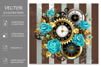 Steampunk Striped Background with Clock and Turquoise Roses
