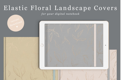Landscape Floral Goodnotes Cover with elastic band in 6 colours