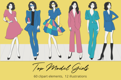 Top Model Girls  Illustration Set