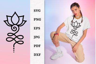 Unalome Lotus Flower SVG File Buddhist Tattoo Design