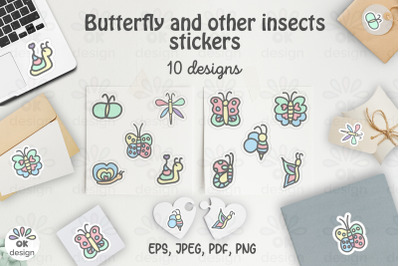Butterfly Stickers. Printable 10 insects designs. PNG, JPEG, PDF files