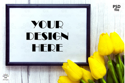 Wooden landscape Frame mockup, Spring blossom, Poster Mockup with yell