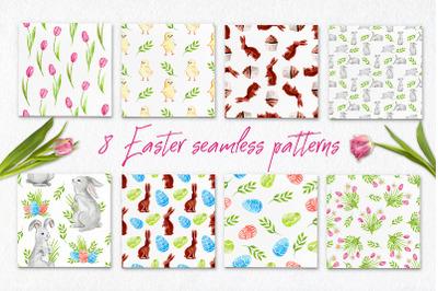 Watercolor Easter patterns | PSD PNG JPEG