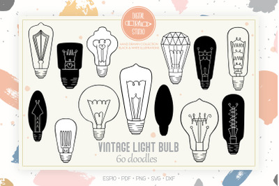 Vintage Light Bulbs Clip Art | Hand Drawn Edison Lights
