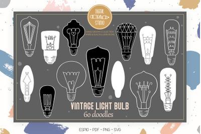 Vintage Light Bulbs | WHite Hand Drawn Edison Lights