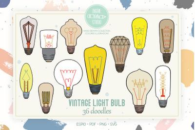 Vintage Light Bulbs | Colored Hand Drawn Edison Lights