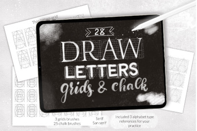 Procreate letter grid builder, chalk letterinf brushes set