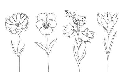 Flowers. Line art.