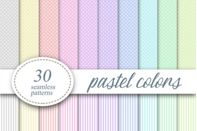 Polka dots Striped Pastel colors Digital Paper Background
