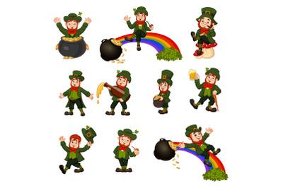 Set of Ten Cartoon Leprechaun Collection