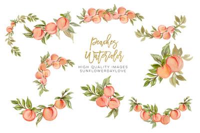 Greenery Summer Peaches, Peaches Arrangements Watercolor clipart