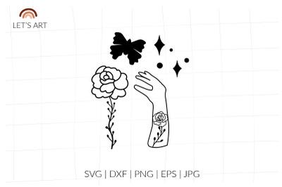 Woman hand svg, mehndi floral svg, Wild flowers svg, rosehip