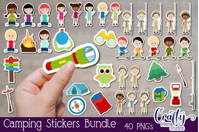 Camping Stickers, Summer Camp Sticker Bundle, Kids Stickers