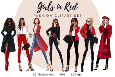 Girls in Red 2 Fashion Clipart set