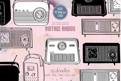 Vintage Radios | Hand Drawn Retro Alarm Clock