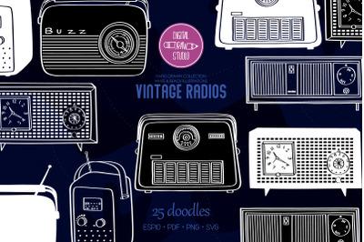 Vintage Radios | White Hand Drawn Retro Alarm Clock