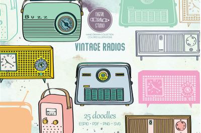 Vintage Radios | Colored Hand Drawn Retro Alarm Clock