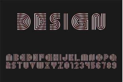 Metallic stylish striped font