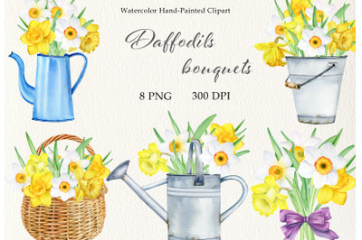 Watercolor daffodils bouquets clipart set. Hand painted spring flowers