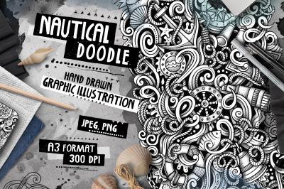 Nautical Graphic Doodle Hand Drawn Illustration