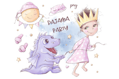 Pajama party clipart and seamless digital paper.