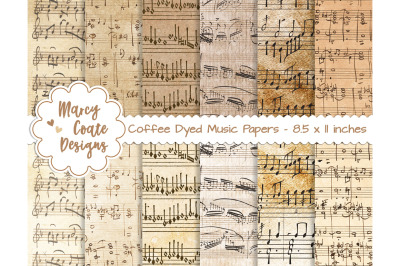Coffee Dyed Music Paper US Letter Size